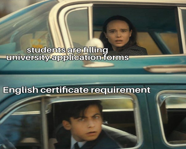 Online IELTS exam preparation, university application, english certificate requirement A boy and a girl surprised to see English certificate requirement when they fill the university application form